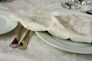 white plate with elegant napkins