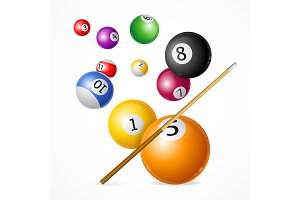 Billiard Ball Concept. Vector