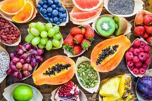 Fruits, berries, seeds.