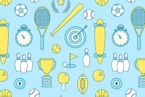 Sports line seamless pattern