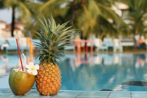 pineapple near the pool