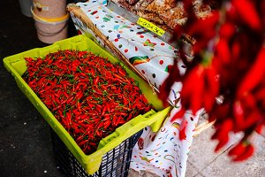 Red pepper in the market