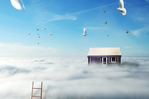 picture of house on the clouds