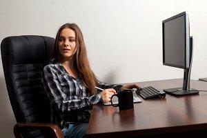 Businesswoman is sitting