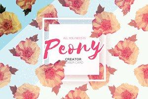 Peony. Creator. Invitation card