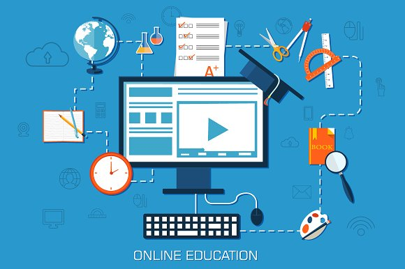 Virtual Classroom Design Free ~ Online education background concept illustrations