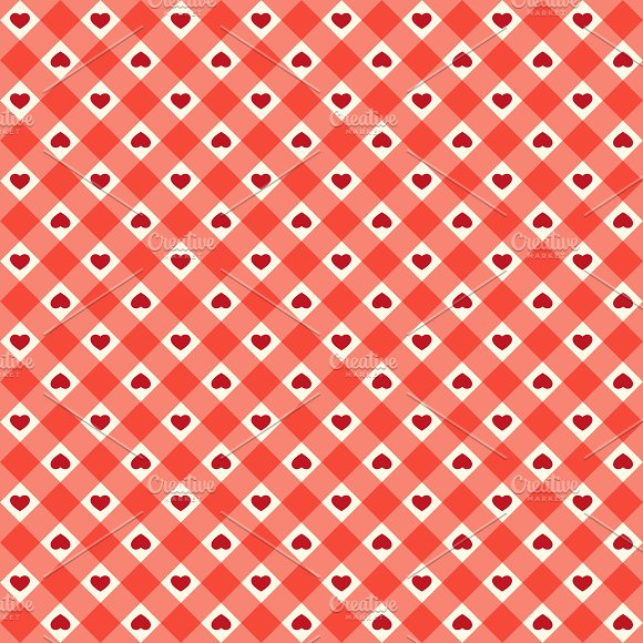 Cute Retro Pattern With Hearts Graphic Patterns Creative Market Custom Cute Patterns