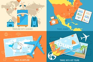hot tour of the world vector concept