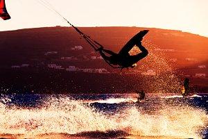 Kitesurfing sunset color splash