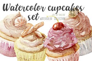 Watercolor set of 4 cupcakes
