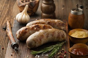 Grilled pork sausages