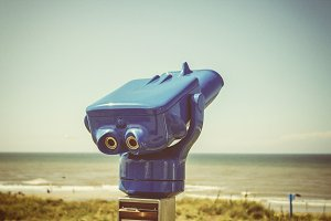 Public binoculars at sea side