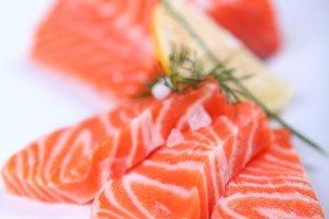Raw fresh red salmon