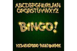 Bingo! Golden glowing alphabet set