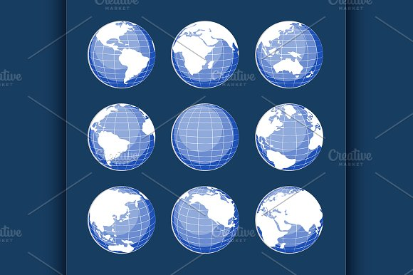 Set of nine globes