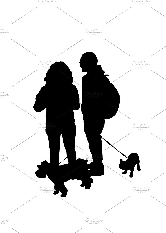Couple With Pets Silhouette