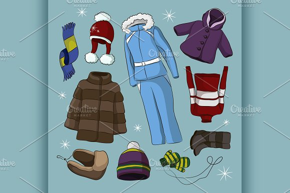 Set of warm winter clothes design in Illustrations
