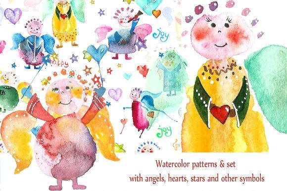 Big Set With Angels Hearts Stars