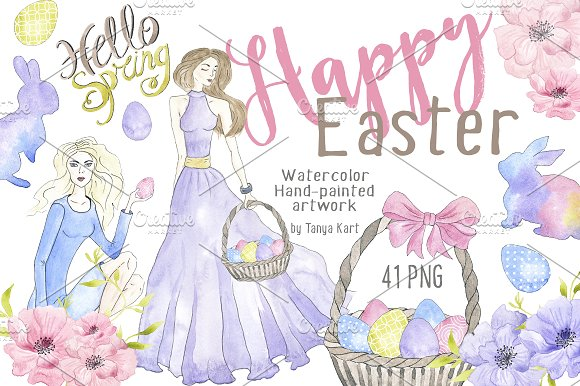 Happy Easter Watercolor Artwork