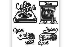 Color vintage cyber sport emblems
