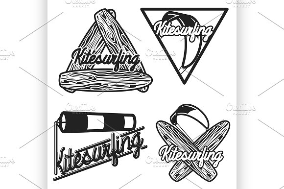 Color Vintage Kitesurfing Emblems