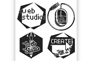 Vintage web studio emblems
