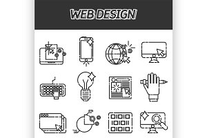 Web design icons set