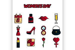 Womens day flat icons set