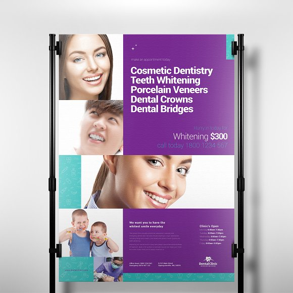 a3 dental clinic poster template flyer templates creative market