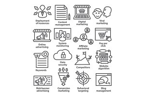 Business management icons. Pack 24.