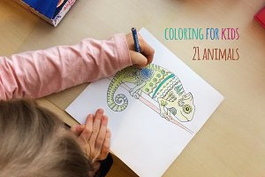 Coloring animal set for kids