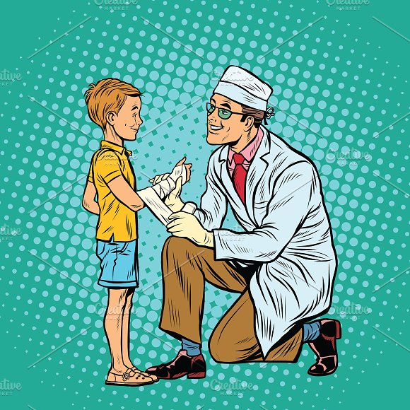 Doctor Bandaging Boy Injured Arm