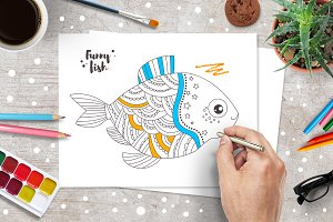 Ten funny fishes . Coloring pages.