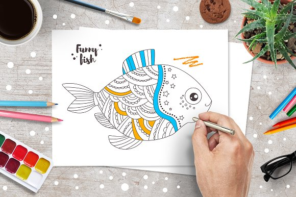 Ten Funny Fish Coloring Pages