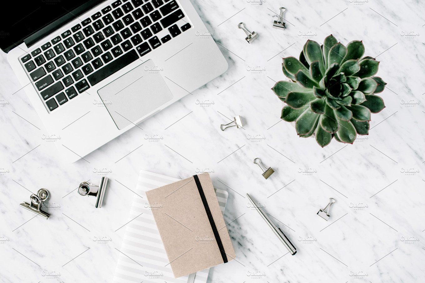 Workspace With Marble Background Business Images