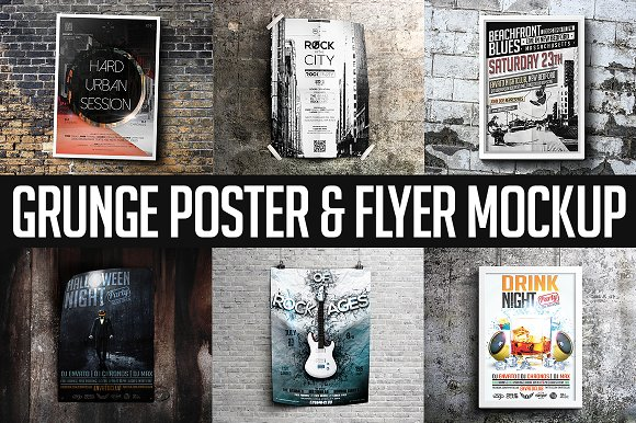 Download Grunge Poster & Flyer Mockup