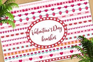 Valentine's Day brushes set