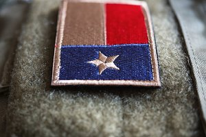 Texas Flag Patch On The Bulletproof Plate Carrier, Shallow Depth Of Field