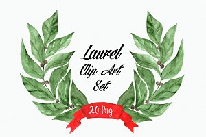Watercolor Laurel Clip Art Set