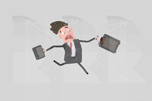 3d illustration. Businessman running