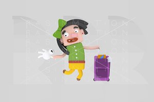3d illustration. Girl suitcase.