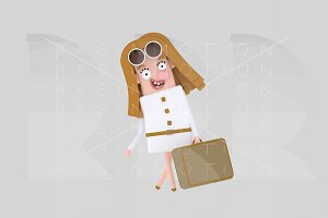 3d illustration. Woman with suitcase