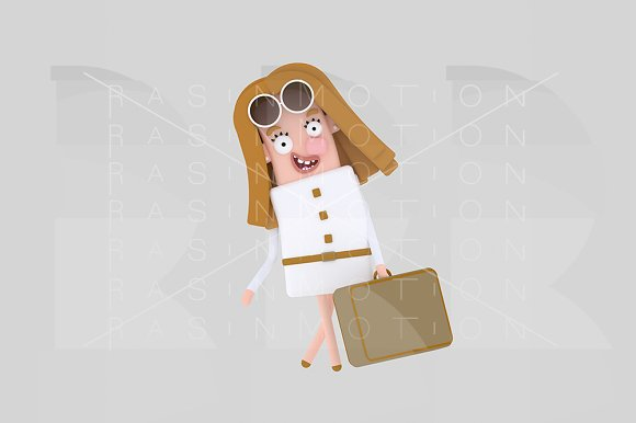 3D Illustration Woman With Suitcase