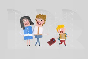 3d illustration.Kid suitcase goodbye