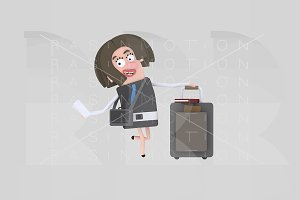 3d illust. Businesswoman suitcase.