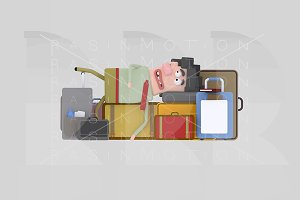 3d illustration. Man baggage.