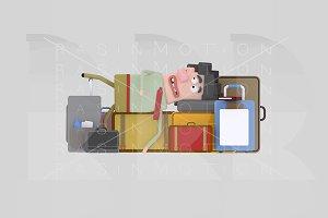 3d illustration. Man baggage.