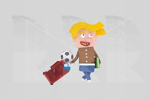3d illustration. Blonde boy suitcase