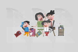 3d illustration. Family suitcases.