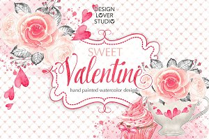 Watercolor Sweet Valentine design